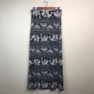 NWT Agnes & Dora Elephant Print Maxi Skirt